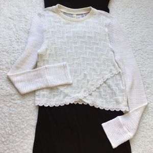 Free People Cream Knit Cropped Sweater Size LG